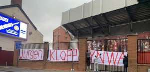 Баннер в поддержку Клоппа на Энфилде